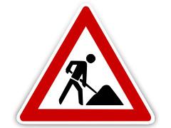 Schild: Baustelle