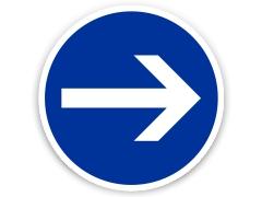 Schild: Hier rechts